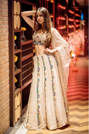 PS-FW657-A  Stone Georgette Choli and Lehenga with Net Dupatta