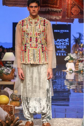 PS-FW663-3 Stone Organza Bandi and Kurta with Periwinkle Blue Low Crotch Pant