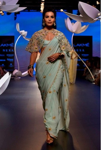 PS-FW537-2 Stone Organza Cape with Ice Blue Crepe Bustier and Georgette Saree