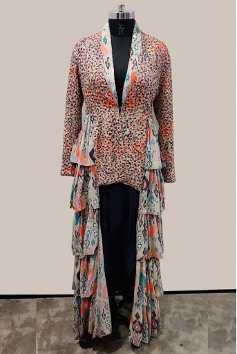 PS-JL0003-1 Stone Printed Georgette Jacket with Navy Velvet Low Crotch Pant