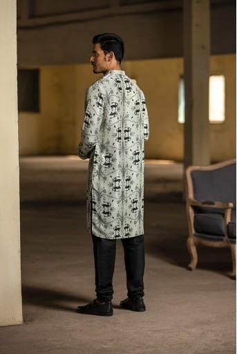 PS-MN051 Stone Printed Silk Kurta with Black Cotton Silk Churidar