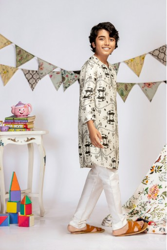 PS-KB0005 Stone Printed Silk Kurta with Off white Cotton Silk Churidar