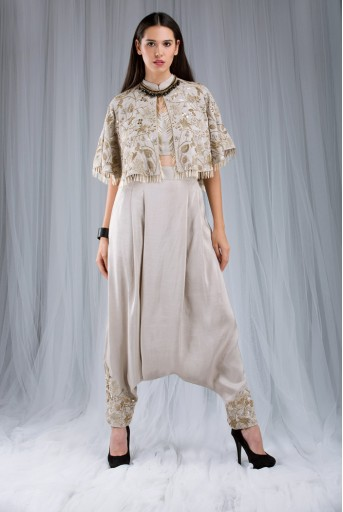PS-ST0984 Stone Silk Cape with Bustier and  Low Crotch Pant