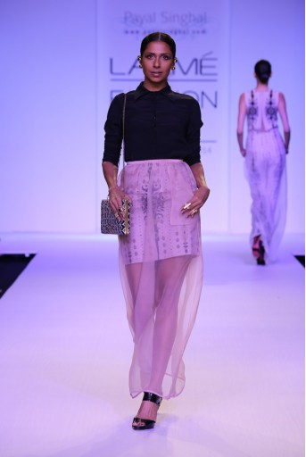 PS-FW246 Suhani Black Crepe Shirt with Dusky Rose Organza skirt and Printed Silkmul Lining