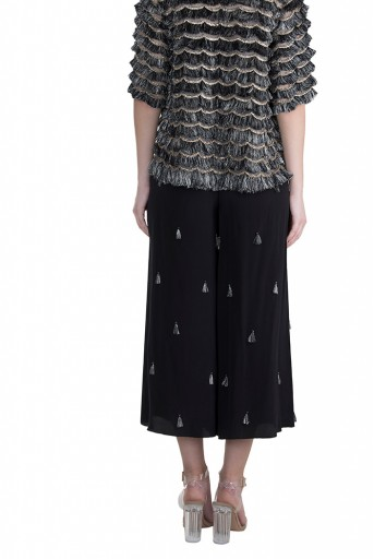PS-FW585 Suheya Stone Organza Top with Crepe bustier and Black Crepe Cropped Palazzo