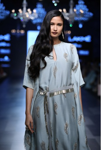 PS-FW446 Sumiya Powder Blue Silk Kaftaan with Mukaish Georgette Waist Belt