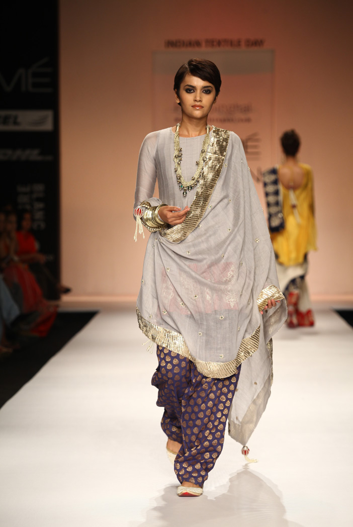 PS-FW186 Tabassum Dusky Grey Silk mul Cropped Anarkali with Blue Banarsi Salwar and Silkmul Dupatta