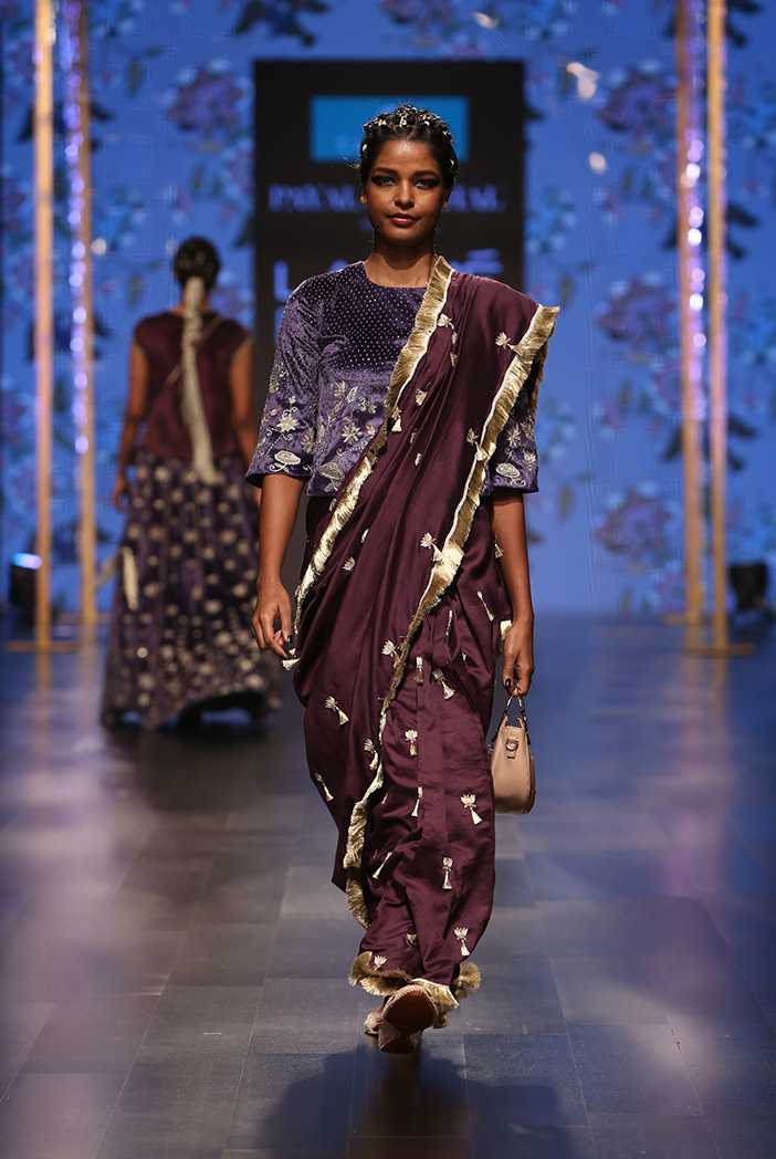 PS-FW560 Tahmina Midnight Blue Velvet Long Choli with Purple Silkmul Saree