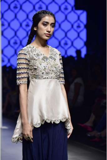 PS-FW472 Tahseen Blush Silk Kurta and Navy Low Crotch Pants