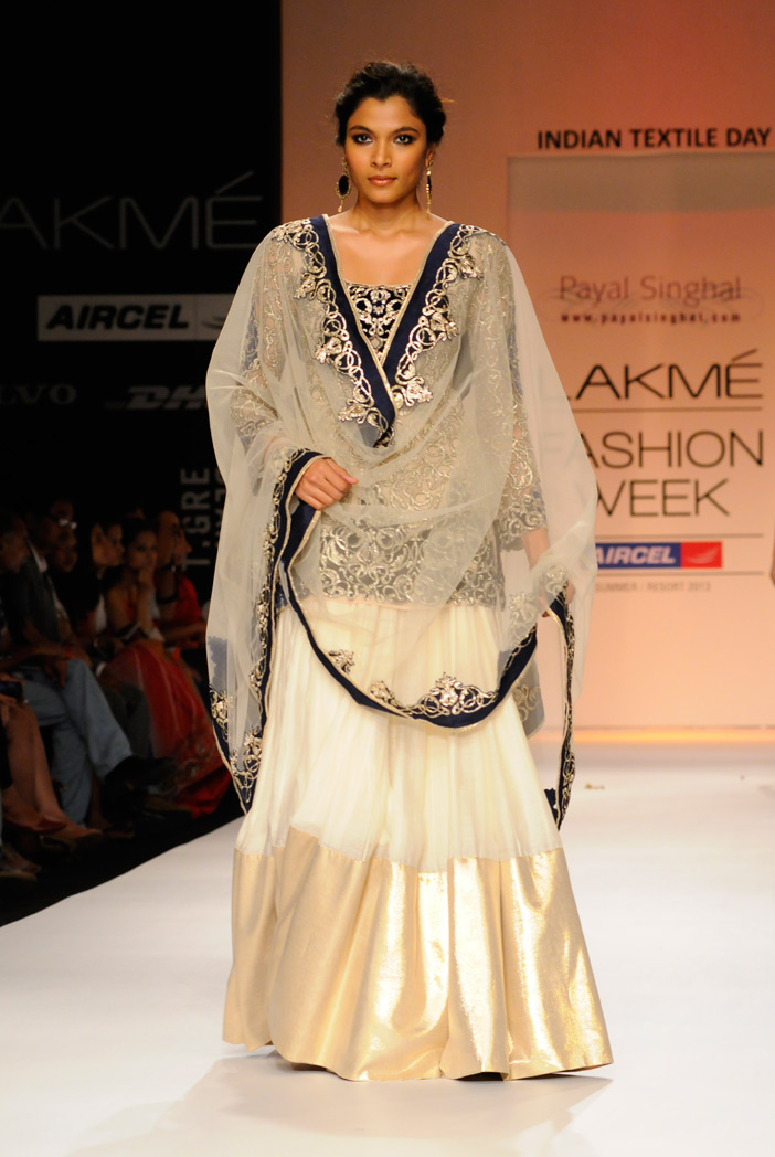 PS-FW190 Taj Cream Tulle Kurta with Silkmul lehenga and Tulle Dupatta