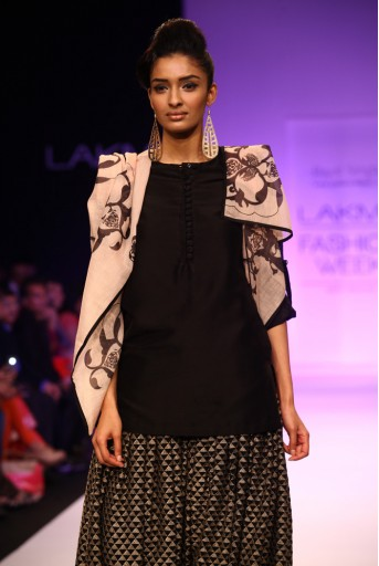 PS-FW203 Tanaz Black Silkmul Kurta with Salwar and Printed Dupatta Suit