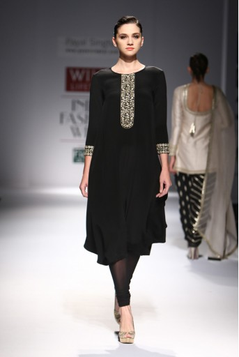 PS-FW298 Taranum Black Crepe Cowl Kurta with Soft Net Churidar