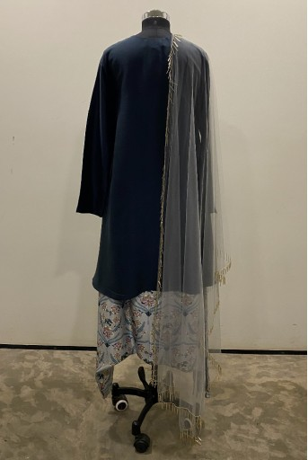 PS-ST1216-U-2 Teal silk High Low Kurta with Powder Blue Printed Low Crotch pant and Powder Blue Net Dupatta