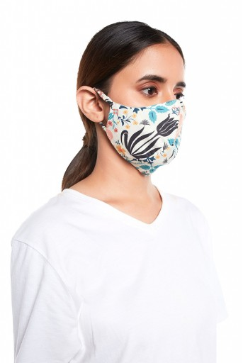 PS-MS0064  Tulip Garden Print Structured 3 Ply Mask with Pouch