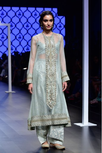 PS-FW481 Umaiza Mint Brocade Bustier and Salwar with Organza Overlay Kurta