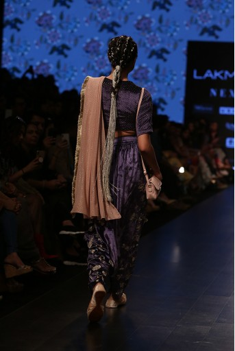 PS-FW561 Umida Midnight Blue Velvet Choli and Low Crotch Pant with attached Mukaish Georgette Drape