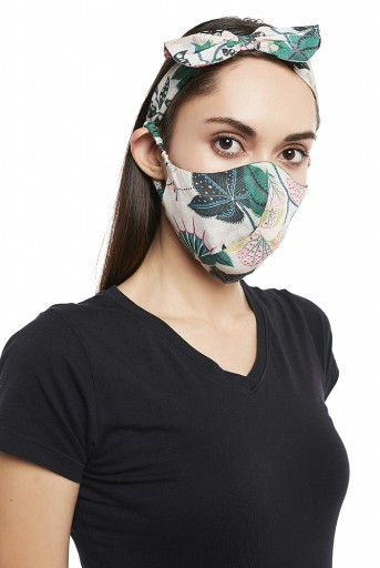 PS-HM0012  White Abutilon And Brown Abutilon Print Reversible 3 Ply Mask With Pouch And Hairband Set