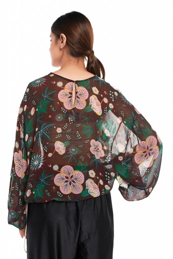PS-TP0036  White and Brown Colour Printed Art Georgette Top with Drawstring Details