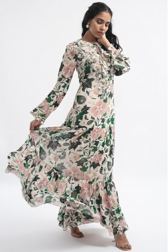 PS-DR0009  White Colour Embroidered Printed Art Georgette Tiered Dress