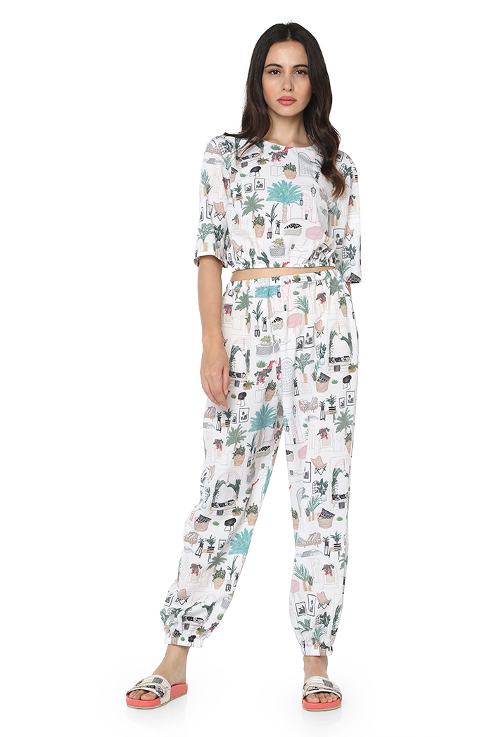 PS-PT0025  White Colour Printed Art Crepe Top with Jogger Pant