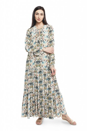 PS-DR0001-C-1  White Colour Printed Crepe Tiered Dress