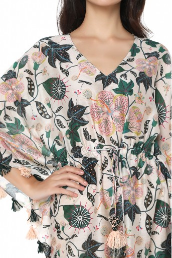 PS-KF0048  White Colour Printed Silkmul Kaftaan