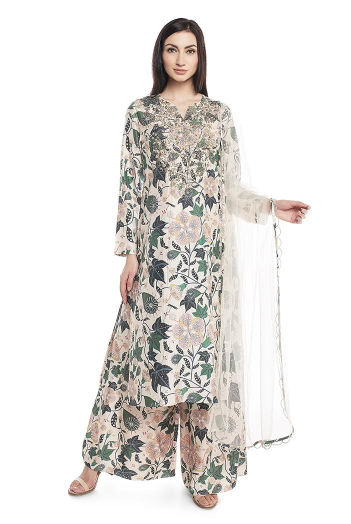 PS-ST1424-K  White Printed Cotton Silk Kurta with Palazzo and White Net Dupatta