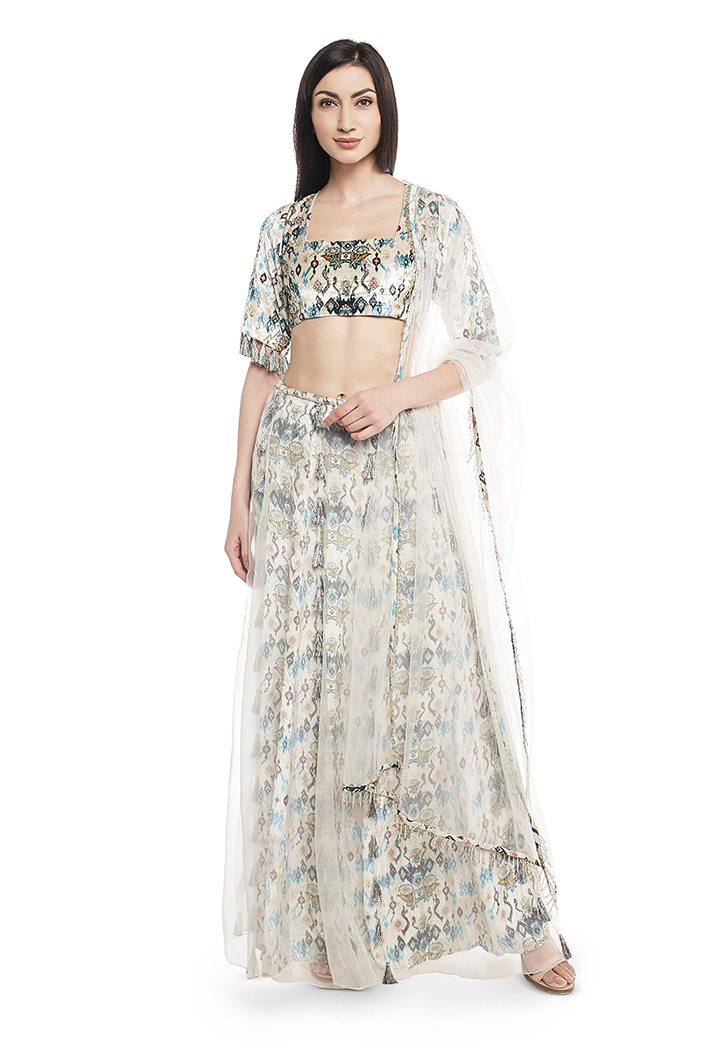PS-FW630-C-1  White Printed Velvet Choli and Lehenga with Attached White Organza Layer and Dupatta