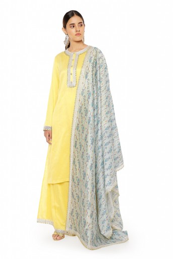 PS-KP0050  Yellow Colour Chanderi Stripe Kurta with Palazzo and Blue Ikat Line Printed Silkmul Dupatta with Matching Structured 3 Ply Mask