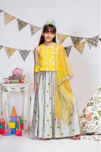PS-KG0015 Yellow Crepe Top with Grey printed Silkmul Lehenga and Yellow Net Dupatta