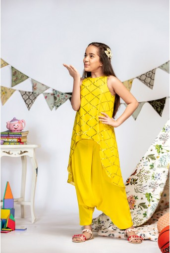 PS-KG0006 Yellow Mukaish Georgette High-Low Tunic with Crepe Low Crotch Pant