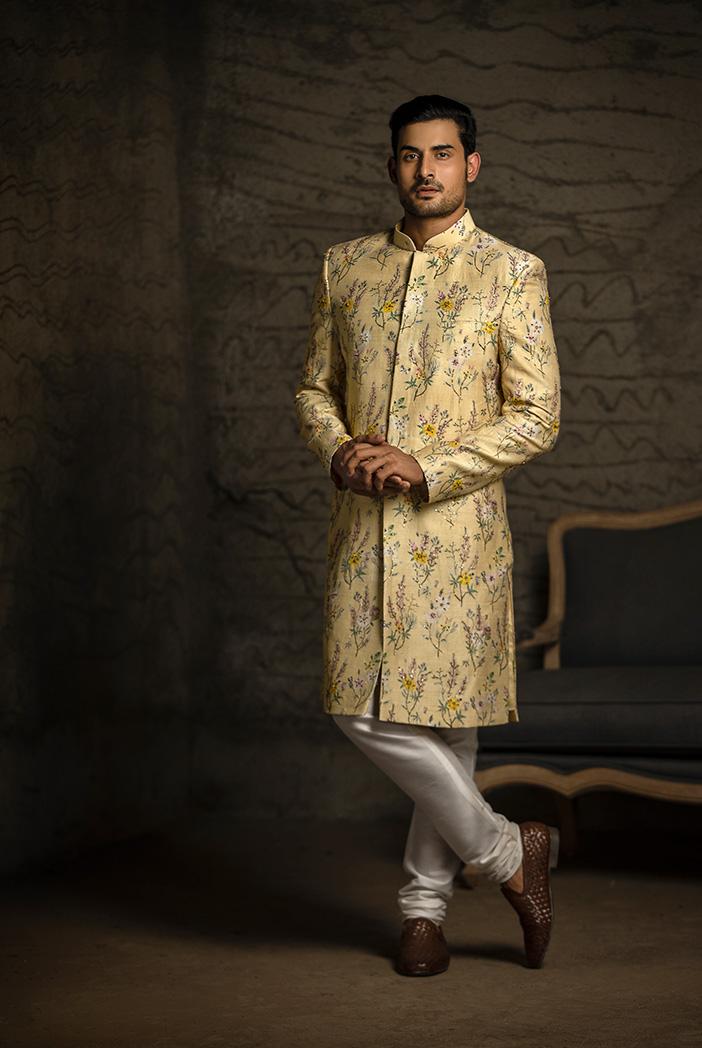 PS-MN081 Yellow Printed Dupion Silk Sherwani with Off White Cotton Silk Churidar