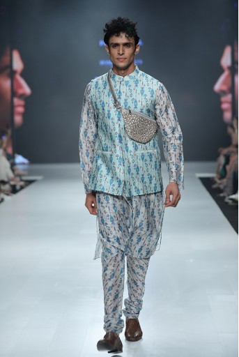 PS-FW685 Zaffar Blue Printed Silkmul Bandi with White Printed Silkmul Kurta and Churidar