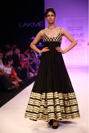 PS-FW208 Zahabia Black Silkmul Kalidar Kurta with Gold Koti and Soft Net Churidar
