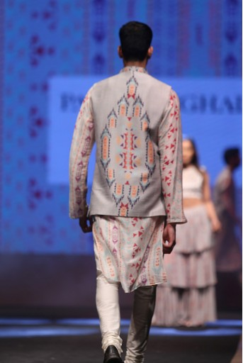 PS-FW611 Zaheer Cream Printed Silkmul Kurta with Grey Printed Dupion Silk Bandi and off-White Cotton Silk Churidar