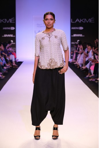PS-FW230 Zaina Stone net Top with Black Linen Low Crotch Pant and Chiffon Dupatta