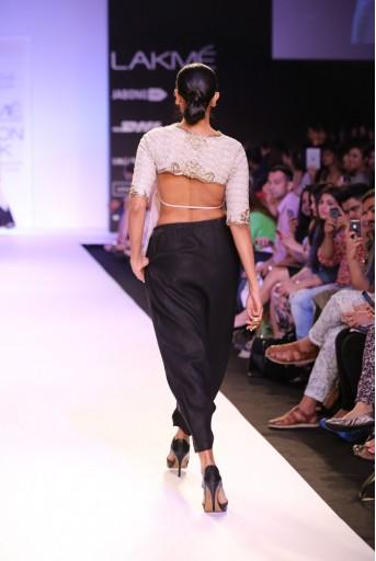 PS-FW230 Zaina Stone net Top with Black Linen Low Crotch Pant and Chiffon Dupatta