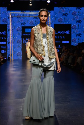 PS-FW563 Zana Stone Organza Jacket with Periwinkle Blue Velvet Kurta and Georgette Sharara