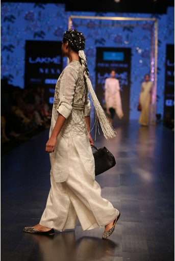 PS-FW565 Zara Stone Organza Jacket with Chanderi Stripe Kurta with Palazzo and Bustier