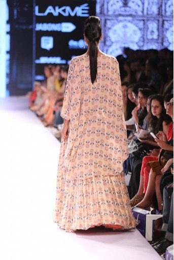 PS-FW303 Zeba Blush Printed Crepe Kaftan with Dupion Silk Skirt