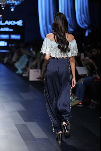 PS-FW425 Zena Powder Blue Silk Ruffle Off-Shoulder Top with Navy Silk Low Crotch Pant