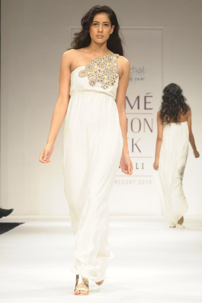 PS-FW006 Zia Cream One Shoulder Dress