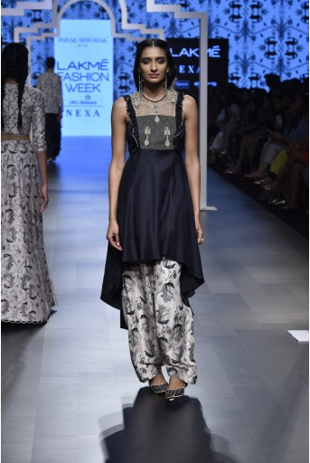 PS-FW465 Ziba Black Embroidered Kurta and Blush Printed Silk Salwar