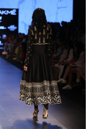 PS-FW416 Zohra Black Silkmul Anarkali with Koti and Soft Net Churidar
