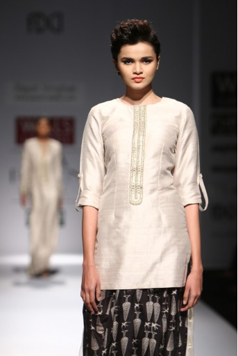 PS-FW292 Zooni Stone Dupion Silk and Organza Kurta with Black Printed Silkmul Dhoti Skirt