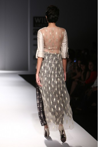 PS-FW292 Zooni Stone Dupion Silk and Organza Kurta with Black Printed Silkmul Dhoti Skirt